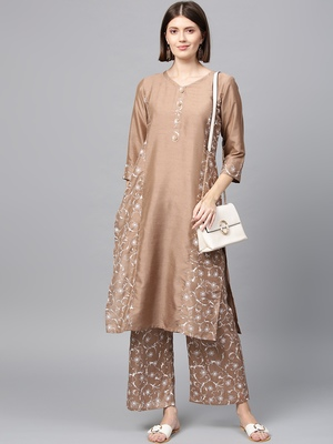 Women's Mashroom Khadi Print Straight Polysilk Kurta Palazzo Set