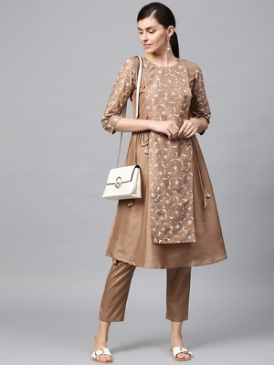 Women's Mashroom khadi print Flared Polysilk Kurta Pant Set