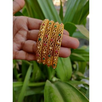 Gold Plated Multicolour Stone Studded Designer Bangles Set Of 4