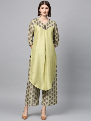 Women's Pista Green Digital Straight Polysilk Kurta Palazzo Set