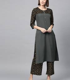 Women's Dark Grey Gold Print Straight Crepe Kurta Palazzo Set