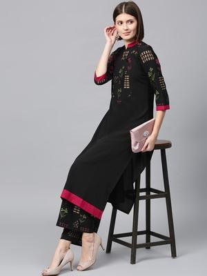 Women's Black Gold Print and Khadi Print Straight Crepe Kurta Palazzo Set