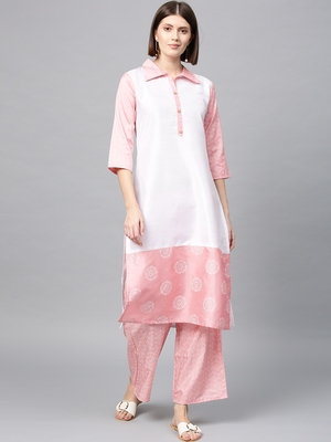 Women's Pink Khadi Print Straight Polysilk Kurta Palazzo Set