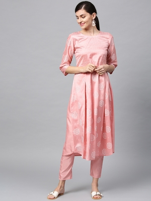 Women's Pink khadi print Flared Polysilk Kurta Pant Set