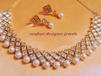 pearl and kundan choker