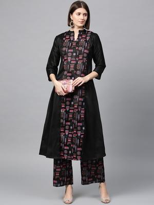 Women's Black Khadi Print A-line Polysilk Kurta Palazzo Set