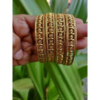 Gold Plated Designer Bangles Set Of 4