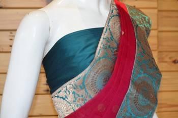 ROYAL PINK silk saree with EMRALD GREEN