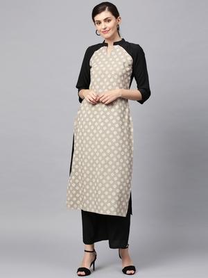 Women's Beige khadi print Straight Crepe Kurta Palazzo Set
