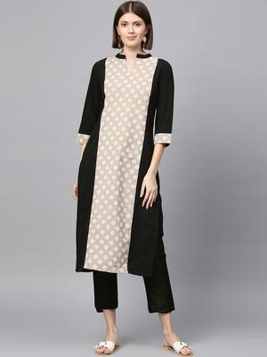 Women's Black khadi print Straight Crepe Kurta Palazzo Set
