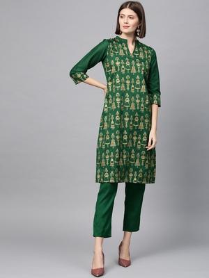 Women's Green gold print Straight Polysilk Kurta Pant Set