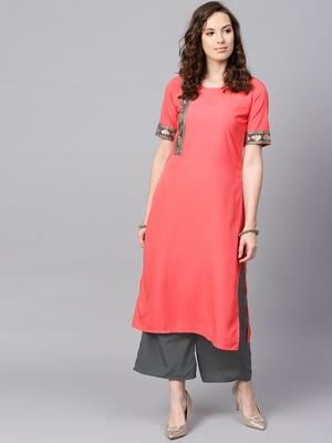 Women's Peach Color Solid Straight Crepe Kurta Palazzo Set