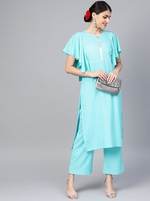 Women's Sky Blue Color Solid Straight Crepe Kurta Palazzo Set