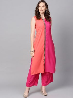 Women's Pink Color Solid Straight Crepe Kurta Palazzo Set