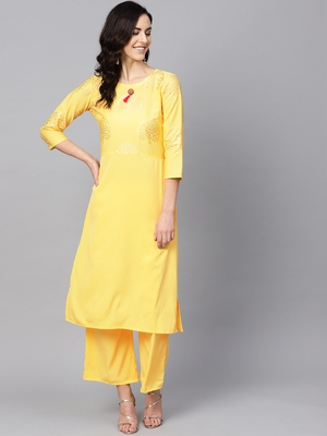 Women's Yellow Color Solid Straight Crepe Kurta Palazzo Set