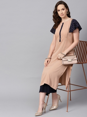 Women's Beige Color Solid Straight Crepe Kurta Palazzo Set