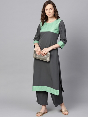 Women's Grey Color Foil Print Straight Crepe Kurta Palazzo Set