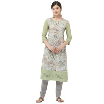 Lime embroidered polyester  kurtas-and-kurtis
