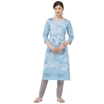 Sky-blue embroidered polyester kurtas-and-kurtis