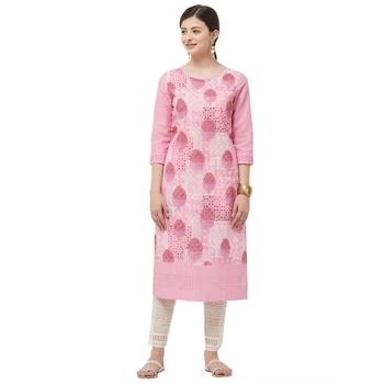 Pink embroidered polyester kurtas-and-kurtis