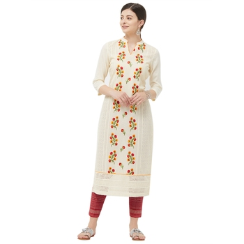 Beige embroidered polyester kurtas-and-kurtis