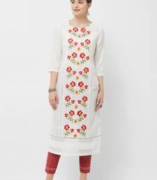 Cream embroidered polyester kurtas-and-kurtis