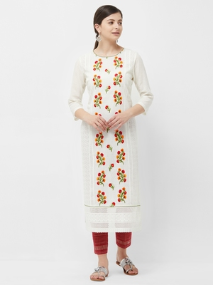 Cream embroidered polyester kurtas-and-kurtis