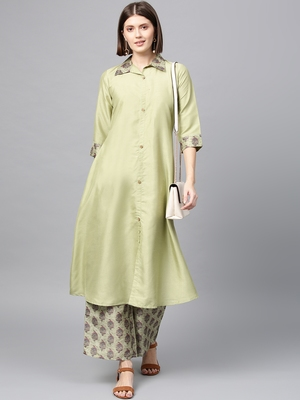 Women's Pista Green Digital Flared Polysilk Kurta