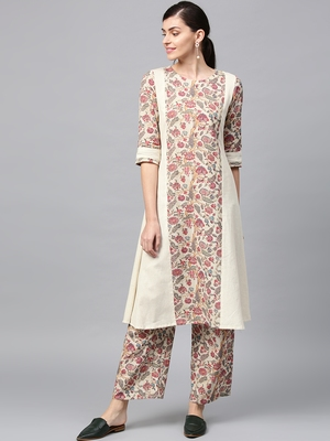 Women's Off white Digital Flared Flex Kurta