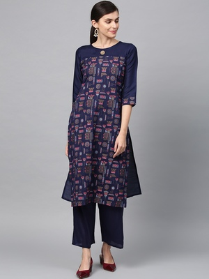 Women's Navy Blue Gold Print and Khadi Print Straight Polysilk Kurta