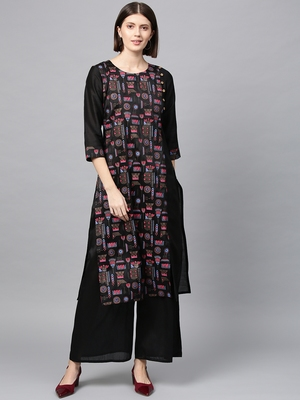 Women's Black khadi print Straight Polysilk Kurta