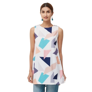 White Sleeveless Star Style Poly Fabric Printed Top For Women's