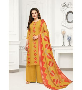 Mustard Cotton Jam Silk Women's Salwar Suit