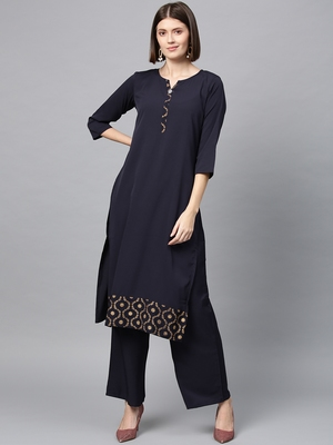 Women's Blue gold print Straight Crepe Kurta