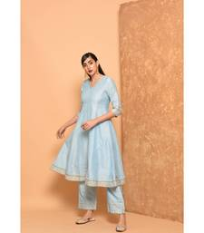 Sky Blue Anarkali Long Kurta With Pallazo Pant