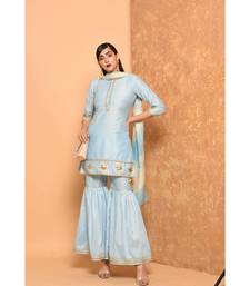 Light Blue pink short kurta paired with sharara set with gotta work.