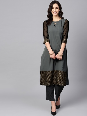 Women's Grey Color Foil Print Straight Crepe Kurta