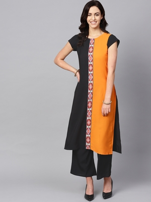 Women's Orange Color Solid Straight Crepe Kurta