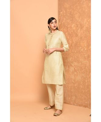 Off White Angrakha Kurta With Palazzo