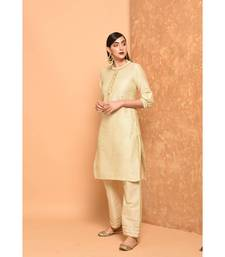 Off-white angrakha kurta with palazzo