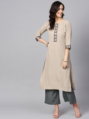 Women's Beige Color Solid Straight Crepe Kurta