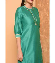 Green long kurta with palazzo