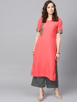 Women's Peach Color Solid Straight Crepe Kurta