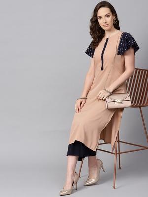 Women's Beige Color Solid Straight Crepe Kurta