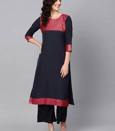 Women's Blue Color Solid Straight Crepe Kurta