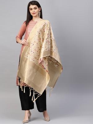 Beige Banarasi Silk Foil Printed Dupatta