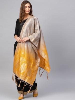 Grey Banarasi Silk Foil Printed Dupatta