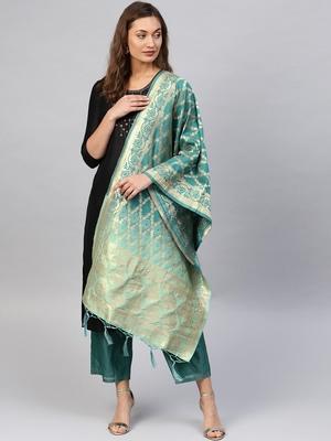Turquoise Banarasi Silk Foil Printed Dupatta