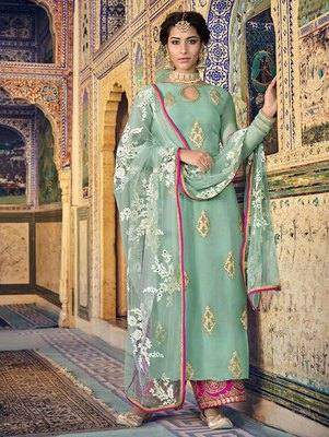 Soft Cyan Party Wear Designer Suit