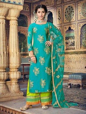 Turquoise Party Wear Designer Suit